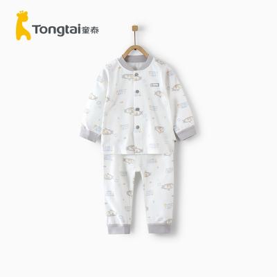 童泰四季新款嬰兒衣服5-24月嬰幼兒內衣套裝嬰幼兒立領閉檔套裝
