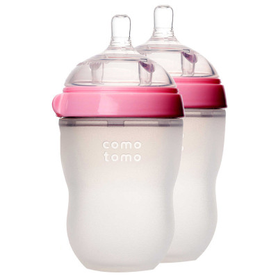 可么多么(como tomo)EN250TP 婴儿全硅胶防摔奶瓶 粉色 宽口径 250ML 两个装