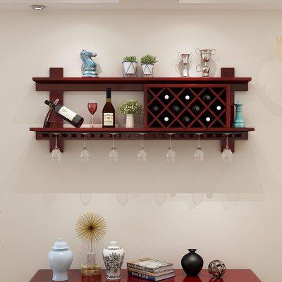 顾致壁挂式实木酒架客厅置物架欧式创意餐厅酒柜悬挂式酒杯架菱形酒格