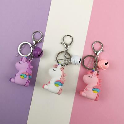 軟膠滴膠獨角獸鑰匙扣卡通玩偶彩虹翅膀小馬鑰匙扣包掛件