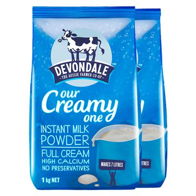 德運Devondale高鈣全脂進口成人奶粉1000g*2袋兒童學生中老年人孕婦沖飲奶粉-到21年3月左右