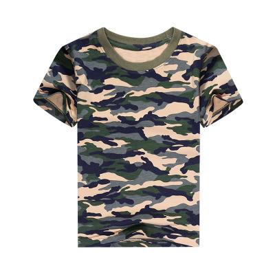夏季儿童迷彩半袖圆领短袖T恤修身幼儿园团体班服宝宝打底衫