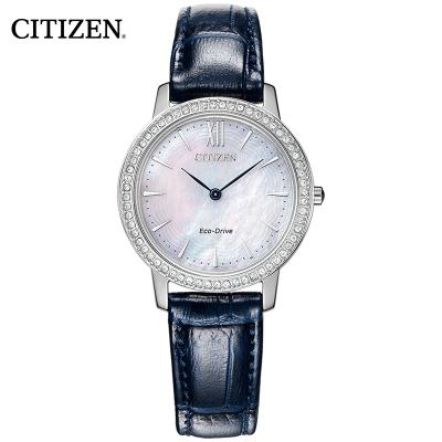 西鐵城(CITIZEN)光動能藍色小牛皮表帶時尚精致復古女表EX1480-15D