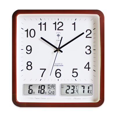 北極星(POLARIS)客廳大掛鐘現代創意時尚萬年歷鐘表方形靜音簡約時鐘辦公掛表帶日歷雙液晶石英鐘表簡約大氣家用時鐘