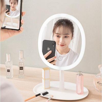 2020年新款網紅化妝鏡帶燈補光美妝鏡子臺式梳妝鏡宿舍公主鏡led化妝鏡折疊