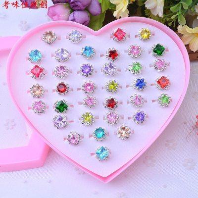 兒童戒指玩具鉆石女童小孩寶石小戒指塑料女孩寶寶公主可愛首飾品