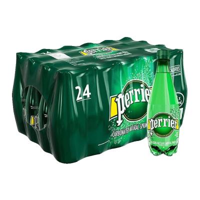 【经典原味】巴黎水(Perrier)天然气泡矿泉水(原味)塑料瓶装 500ml*24瓶/箱 进口饮用水 法国进口