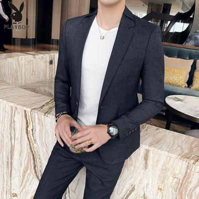 花花公子 ( PLAYBOY ICON )西裝男外套韓版潮流修身帥氣西服男套裝韓國英倫風禮服兩件套