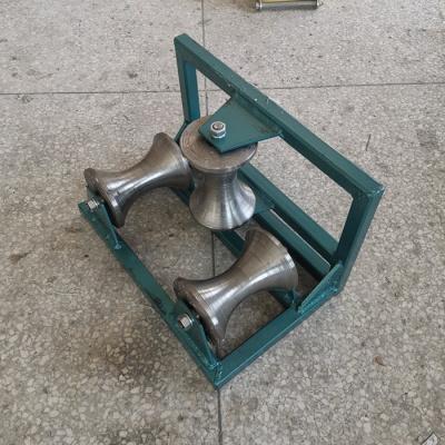 电力电缆放线滑轮加强三联井口钢轮三轮转角尼龙滑轮管口保护滑车 三轮转角钢轮
