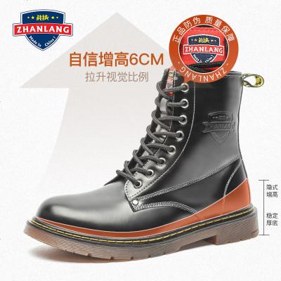 黑色马丁靴男加绒保暖高帮英伦风工装中帮男短靴冬季男鞋