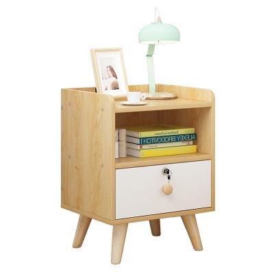 佳家林 床头柜 现代简约 简易 北欧 床边柜 抽屉式 带锁收纳柜 卧室柜