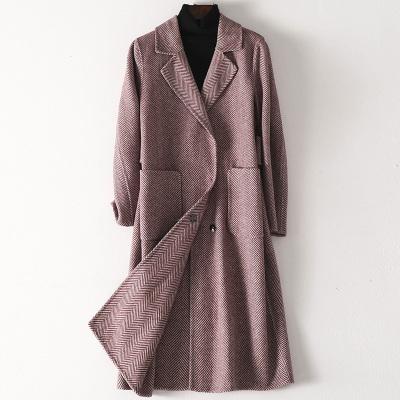 2020春季新款雙面毛呢大衣女士流行時尚羊毛呢子外套