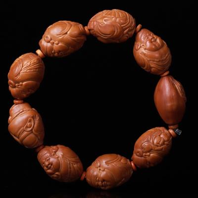 今夕 橄欖核手串大籽財神橄欖核手鏈文玩橄欖胡寫實手工財神核雕浮雕男念珠飾品配飾 官帽財神 17*24mm