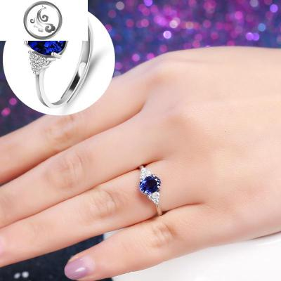 s925純銀藍寶石戒指女款紅水晶戒指開口時尚情人節七夕   JiMi