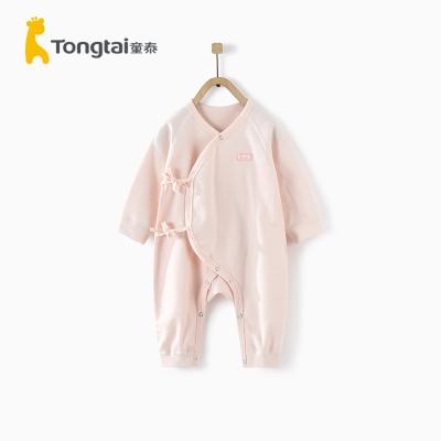 童泰四季新款嬰兒衣服0-3月新生兒純棉偏開連體衣寶寶偏開哈衣