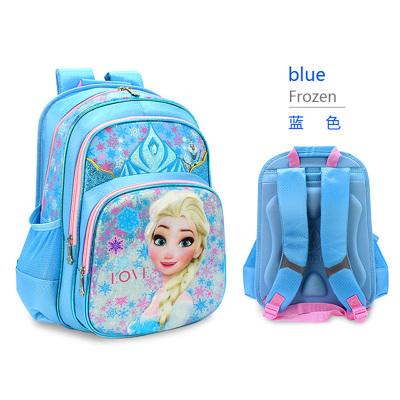 迪士尼(Disney) 學生書包 冰雪奇緣女款護脊透氣背包 減負耐用舒適雙肩背包 藍色