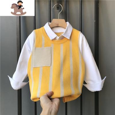 童装男童春秋套装2020新款长袖衬衫加厚毛衣马甲背心儿童两件套潮  YueBin