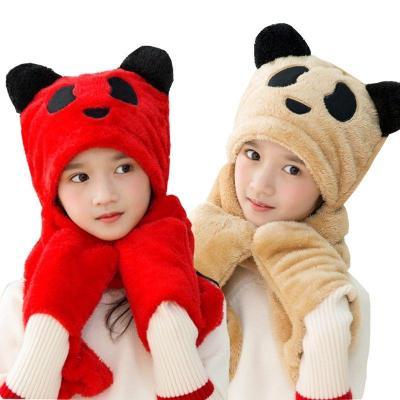 男女兒童帽子圍巾手套三件一體秋冬加厚保暖寶寶可愛卡通熊貓圍巾 莎丞