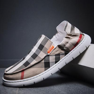 策霸春季新品2020款一腳蹬駕車格子布透氣板鞋男鞋老北京布鞋套腳懶人鞋男士
