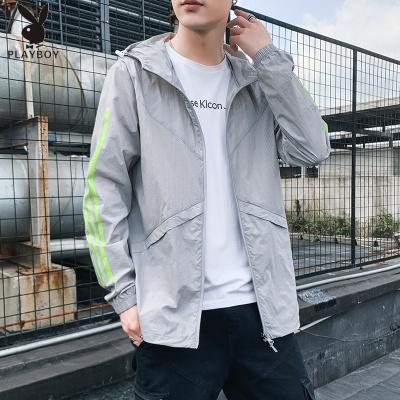 花花公子 ( PLAYBOY ICON )防曬衣服2020新款夏季韓版夾克潮外衣超薄款透氣帥氣男士外套