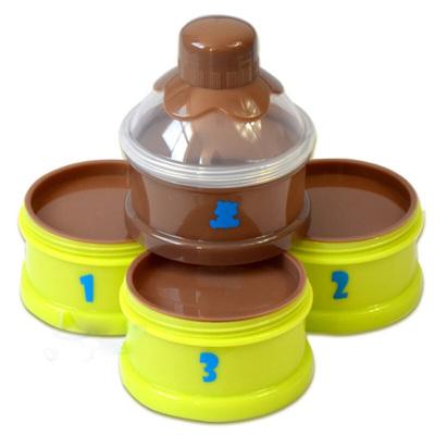 小白熊嬰兒奶粉盒便攜外出密封奶粉格儲存盒大四層分裝盒4*80ml 09187(曬圖評價滿10字返15元優惠券)