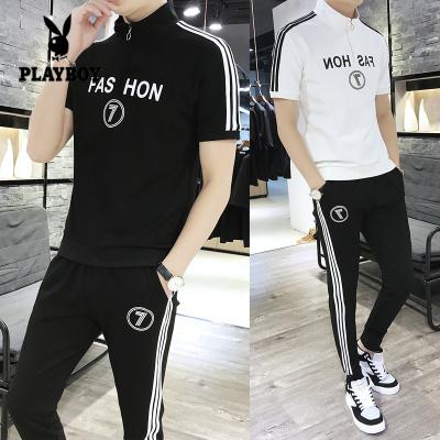 花花公子 ( PLAYBOY ICON )2020新款春夏季男士短袖T恤長褲套裝男條紋運動套裝