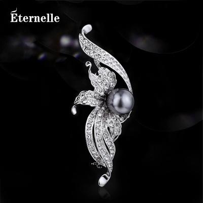 法国Eternelle波西米亚风仿珍珠胸针 镶嵌奥地利仿水晶胸花配饰品