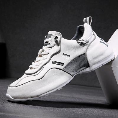 策恩公牛2020夏季新款板鞋男厚底增高真皮休閑鞋ins老爹鞋透氣小白鞋男鞋