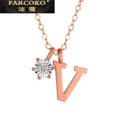 法蔻珠寶輕奢品牌項鏈女18k金鉆石字母套鏈玫瑰金彩金鎖骨鏈圣誕情人節生日送女友