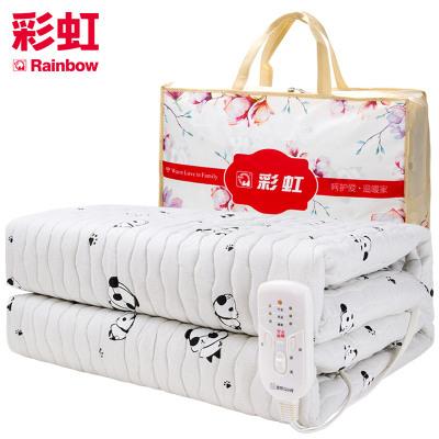 彩虹(RAINBOW)電熱毯雙人電褥子(1.8*1.5米) 除螨雙控雙溫電熱褥 安全調溫保護電褥毯定時關閉 單面棉質面料