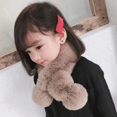 韩版秋冬男女童兔毛球交叉儿童毛绒围巾加厚婴儿宝宝冬季保暖围脖诺妮梦