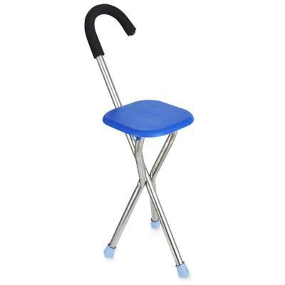 高博士(GAO BO SHI)老人拐杖凳子四腳椅凳多功能拐杖椅防滑折疊拐扙老年手杖拐棍 三角藍
