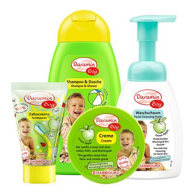 德國進口daramin達羅咪男童洗護4件套裝 兒童洗面奶兒童面霜兒童洗發沐浴露二合一兒童牙膏3-13-18歲男臉部護理