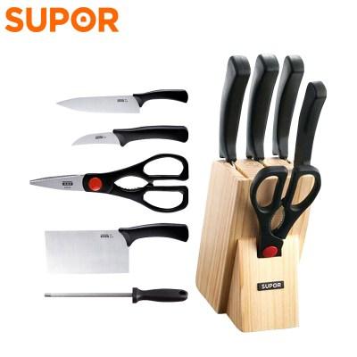蘇泊爾(SUPOR)利刃系列六件套 切片刀多用刀削果皮刀廚房剪磨刀棒刀座全套廚房刀具T0824-2