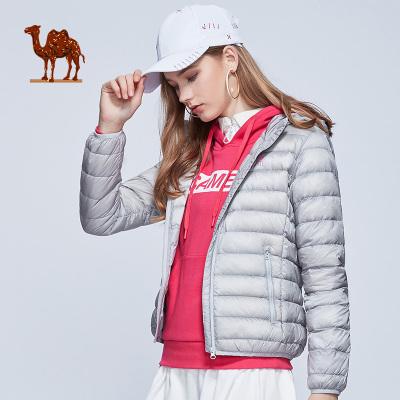 CAMEL骆驼户外运动羽绒服 秋冬情侣款男女运动休闲轻薄短款连帽羽绒服