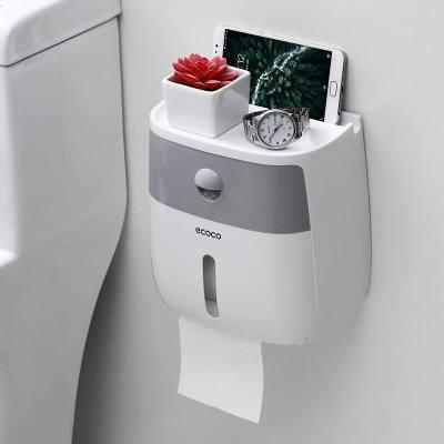 卫生纸盒卫生间纸巾厕纸置物架厕所家用免打孔创意防水抽纸卷纸筒 半透灰+白