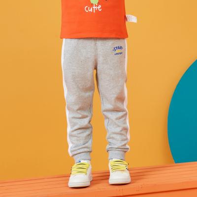 【1件3折价:37.8】moomoo童装男幼童撞色针织长裤春秋新款小宝宝条纹长裤