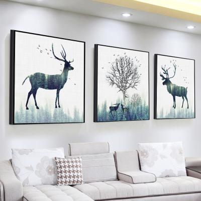 北歐客廳裝飾畫沙發背景墻壁畫古達現代簡約三聯畫臥室 深棕色 60*60【適合3米左右墻面】25mm厚板+防水布紋膜+立體