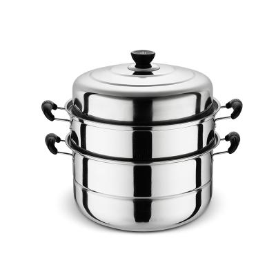 蒸鍋不銹鋼三層創意加厚蒸籠3層蒸格1層二2層湯鍋雙層家用電磁爐鍋具-28cm三層