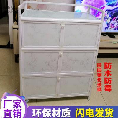鋁合金櫥柜廚房置物柜收納柜子餐邊柜簡約茶水柜微波爐柜家用碗柜定制 四層八門白色80X41X135CM 雙門