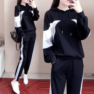 YUDI語弟2020秋季運動套裝女新款休閑時尚寬松個性衛衣兩件套潮秋