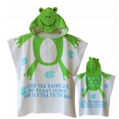 儿童浴袍毛巾料保暖温泉浴衣宝宝带帽游泳斗篷婴幼儿吸水浴巾