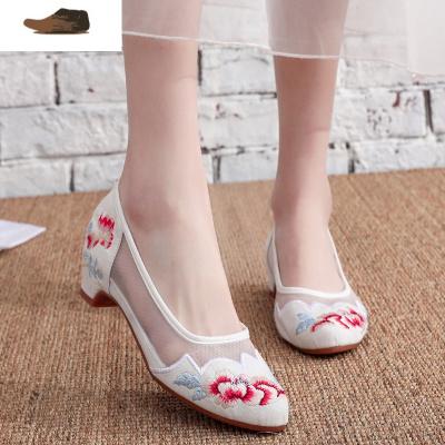 Ideamini夏季老北京布鞋女民族風繡花鞋漢服鞋子女古風搭配旗袍中跟網紗鞋女士低幫鞋