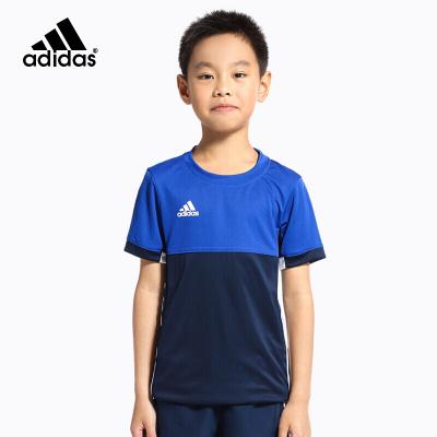 adidas阿迪達斯童裝男女運動服套裝兒童休閑短袖T恤女童羽毛球服舒適透氣AJ5433男