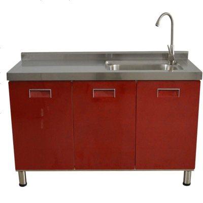 不銹鋼櫥柜定做整體304簡易農村廚房帶水槽灶臺移動式多功能 202三_彩鋼水池柜