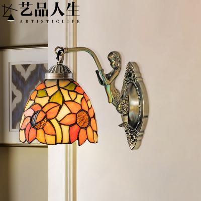 过道走廊床头壁灯蒂凡尼欧式圆形卧室太阳花led玻璃镜前灯