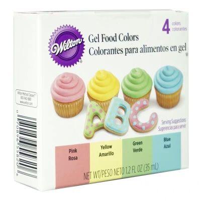 wilton美國進口惠爾通食用液體色素水溶烘焙原料蛋糕裱花翻糖4色套裝【馬卡龍色】