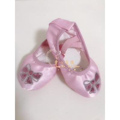 熱賣兒童舞蹈鞋貓爪鞋女童刺繡加厚軟底練功鞋女孩芭蕾舞鞋瑜伽練舞鞋