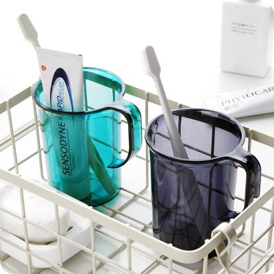 【蘇寧好貨】創意透明洗漱杯帶手柄塑料刷牙杯子水杯簡約情侶漱口杯牙刷杯牙缸 透明深綠
