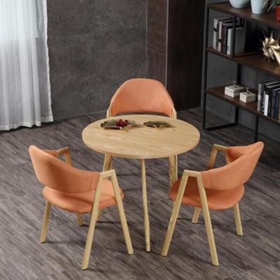 欧宝美接待会议洽谈桌椅组合办公室休闲时尚小户型圆形餐桌一桌三椅